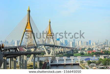 Bangkok skyline with  the Industrial Ring Road Bridge