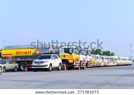 BANGKOK THAILAND - APRIL 20 : Fuel truck stops for parking in a row at Bangkok city during a long weekend of staff have returned to relax with Celebrate Songkran Festival  on 20 April 2015.