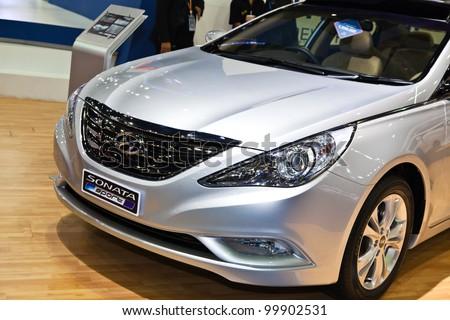 BANGKOK, THAILAND- APRIL 8: Hyundai Sonata sport on display at the 33rd Bangkok International Motorshow at Impact MuangThongThani on April 8, 2012 in Bangkok,Thailand. #99902531