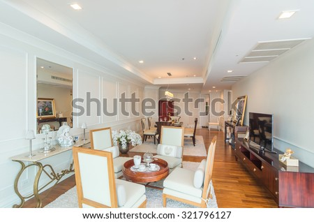 BANGKOK, THAILAND - APRIL 25 :  Luxury Interior living room with kitchen zone and restaurant set at My resort as river condominium beside the chao phraya river on April 25, 2015 in Bangkok, Thailand #321796127