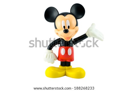 Bangkok,THAILAND - April 9, 2014: Mickey mouse from Disney character. plastic toy sold as part of the McDonald's Happy meal.