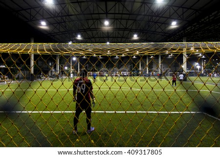 Bangkok,THAILAND, -21 APRIL 2016 : Night Time at Football field indoor of Thailand it stay in capital Bangkok,Thailand  - Shutterstock ID 409317805
