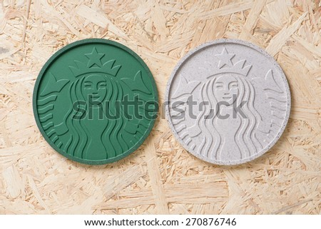 BANGKOK, THAILAND - APRIL 20, 2015: Starbucks Coaster 2014 made from Recycled Starbucks Coffee Grounds. #270876746