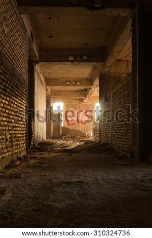BANGKOK, THAILAND - APRIL 5, 2015:The abandoned construction and art on wall ruin(dark theme)