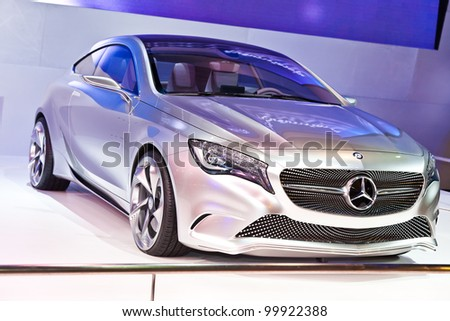 BANGKOK, THAILAND - APRIL 8: The Mercedes-Benz Concept A-class in the 33rd Bangkok International Motor Show on April 8, 2012 in Bangkok, Thailand.