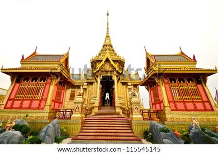 BANGKOK, THAILAND - APRIL 11: The Royal Cremation Ceremony of Prince Bejaratana Rajasuda Sirisobhabannavadi. Members of the Sanam Luang, Bangkok, Thailand. April 11, 2012