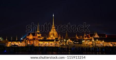 BANGKOK, THAILAND - APRIL 7: The Royal Cremation Ceremony of Prince Bejaratana Rajasuda Sirisobhabannavadi. Members of the Sanam Luang, Bangkok, Thailand. April 7, 2012
