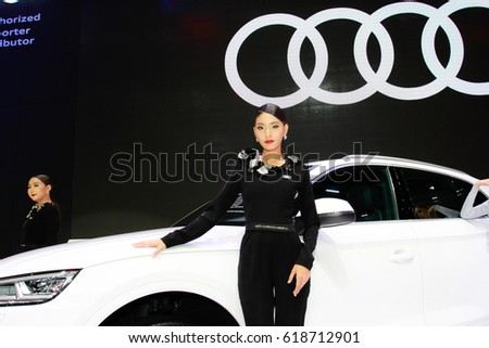 BANGKOK, THAILAND - APRIL 09, 2017: Unidentified female presenter pose in the 38th Bangkok International Motor Show on April 09, 2017 in Bangkok, Thailand.