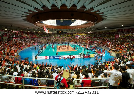 BANGKOK,THAILAND-AU GUST15:Unidentified view of Indoor Stadium Huamark during the FIVB World Grand Prix Thailand and Dominican Republic at Indoor Stadium Huamark on Aug.15, 2014 in Thailand.