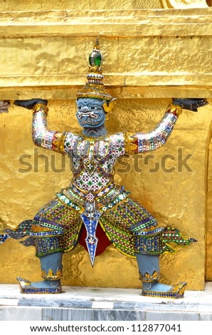 BANGKOK, THAILAND - AUG 30:  A beautiful Giant Buddha on 30 August 2012 at Temple of the Emerald Buddha (Wat Pho Kaew), Bangkok, Thailand
