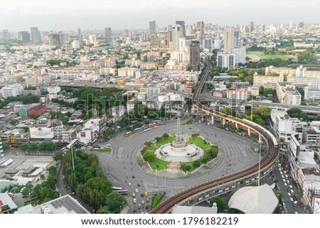 Bangkok, Thailand - Aug 08, 2020: Thailand victory monument,  main traffic for road in Bangkok, central Bangkok Thailand