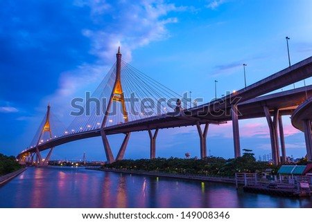 BANGKOK,THAILAND-AUG 5:The Bhumibol Bridge also known as the Industrial Ring Road is the important way for connect Bangkok with Samut Prakan Province at Bangkok on August 5, 2013 in Bangkok,Thailand. #149008346