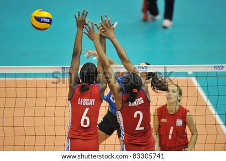 BANGKOK, THAILAND - AUG 21: Volleybal players of ARG during the match between CUB and ARG of the 2011 FIVB World Grand Prix at Thai-Japanese Stadium on Aug. 21, 2011 in Bangkok, Thailand - stock photo