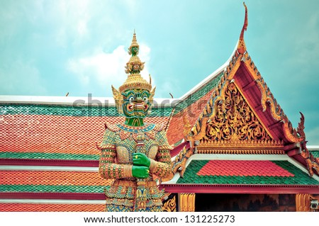 BANGKOK, THAILAND - AUGUST 11: guardian statue in Grand Palace, Bangkok - Thailand on August 11,2012. Buddhism is Thailand official religion and is the religion of more than 90% of its people