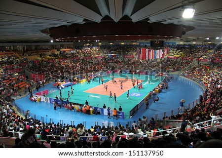 Bangkok, Thailand - August 17:Indoor Stadium Huamark during the FIVB Volleyball World Grand Prix 2013 on August 17, 2013 in Bangkok,Thailand