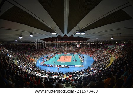 Bangkok, Thailand - August 17:Indoor Stadium Huamark during the FIVB Volleyball World Grand Prix 2014 at Indoor Stadium Huamark on August 17, 2014 in Bangkok, Thailand.