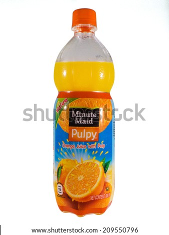 Bangkok, Thailand - August 7, 2014: Minute Maid Pulpy Orange Juice with Pulp. The Minute Maid company is owned by The Coca-Cola Company, the largest marketer of fruit juices and drinks.