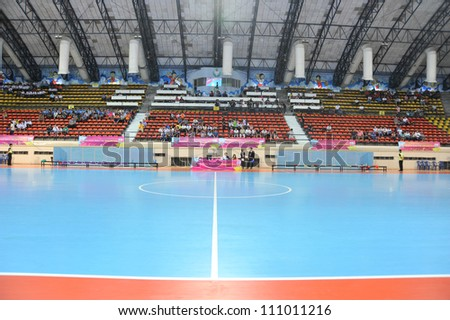 BANGKOK THAILAND - AUGUST 24 : Nimibut Stadium of Thailand in Friendly futsal match Between Thailand VS Spain at Nimibutr Stadium on August 24,2012 in Bangkok,Thailand.