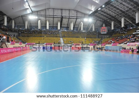 BANGKOK THAILAND - AUGUST 24 :Nimibutr Stadium of Thailand in Friendly futsal match Between Thailand VS Spain at Nimibutr Stadium on August 24,2012 in Bangkok,Thailand.