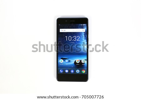 Bangkok , Thailand - AUGUST 29, 2017 -  Nokia 8 Smartphone New Brand Of Nokia for Editorial.