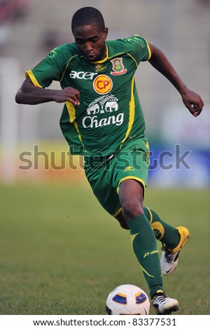 BANGKOK THAILAND- AUGUST 21 : R.De Santana of Army Utd. in action during Sponsor Thai Premier League 2011 between Army Utd. and Thai Port FC on August 21, 2011 at Army Stadium in Bangkok Thailand