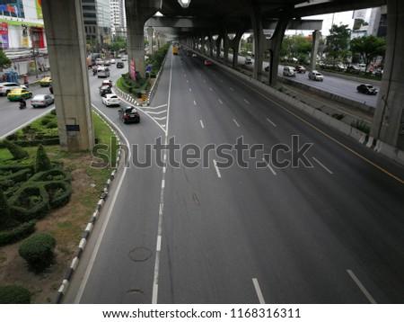 Bangkok,Thailand - August 18th,218 : Traffic on the highway at Bangkok,Thailand. #1168316311