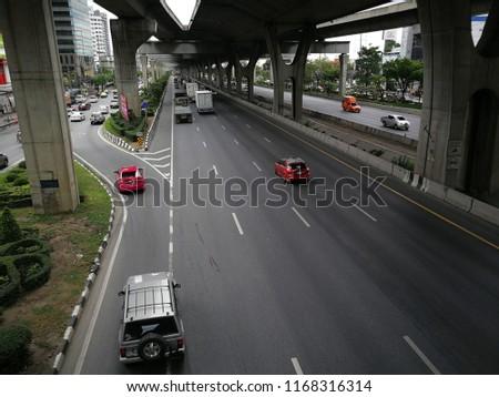 Bangkok,Thailand - August 18th,218 : Traffic on the highway at Bangkok,Thailand. #1168316314