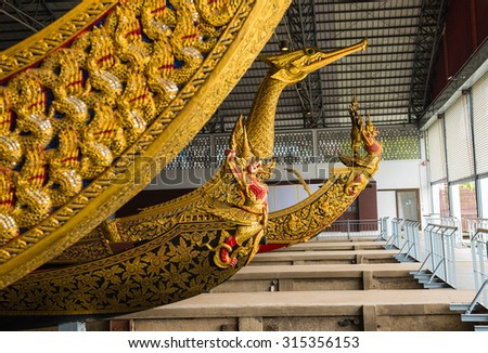 BANGKOK, THAILAND - 28 august 2015: Thai Royal Barge in Bangkok, Thailand on 28 august 2015. The Thai royal barges are used in the royal family during tradition reliogius procession to royal temple