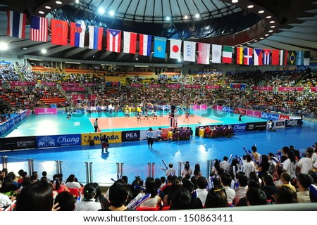 BANGKOK,THAILAND-AUGUST 16:The competition FIVB Volleyball World Grand Prix 2013 at Indoor stadium Hua-Mak on August 16,2013 in Bangkok,Thailand