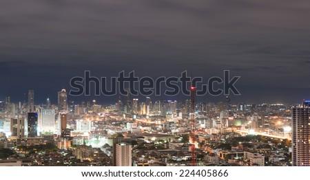 Bangkok, Thailand - August 28, 2014 : Urban scene with city light in landmark with traffic light at night