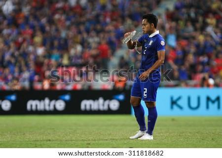 BANGKOK THAILAND DEC17:Peerapat Notchaiya of Thailand in action during the AFF Suzuki Cup 2014 Match between Thailand and Malaysia at Rajamangala Stadium on December 17,2014 in Thailand.