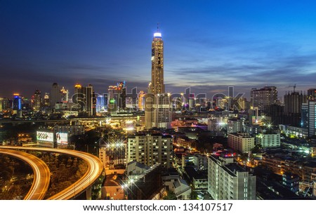 BANGKOK THAILAND - DEC. 31 : View of Baiyok Tower II and the express way in the evening taken on December 31, 2012 in Bangkok. It is the tallest building in Bangkok with 328.4 m (1,077 ft).