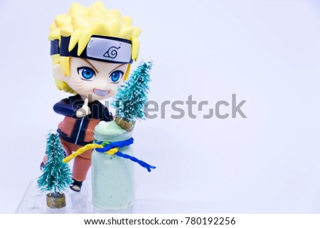 Bangkok, Thailand – December 23, 2017 : A photo of  Naruto Shippuden is very popular ninja anime cartoon character in Japan. Naruto's enjoy the festival Christmas and New Year. Editorial only.