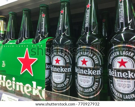 Bangkok , Thailand - December 8,2017 - Heineken Netherland Beer At Supermarket Shelf,Thailand - Editorial Use Only.