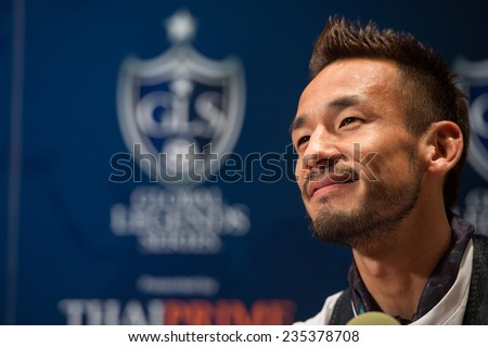 BANGKOK, THAILAND - DECEMBER 03: Hidetoshi Nakata speaks to the media during a press conference in the lead up to the Global Legends Series, at the Swissotel, on Dec3, 2014 in Bangkok, Thailand.