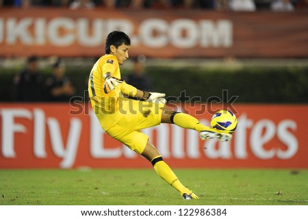 BANGKOK THAILAND-DECEMBER 13 Mohd Farizal Marlias GK of Malaysia in action during the AFF Suzuki Cup between Malaysia and Thailand at Supachalasai stadium on Dec13 2012 in Thailand