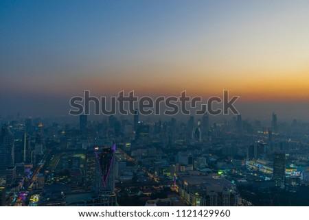 Bangkok, Thailand December 20, 2017 : Night sky view at Downtown ,bangkok,Thailand. #1121429960