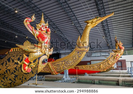 BANGKOK, THAILAND - DECEMBER 17: Thai Royal Barge in Bangkok, Thailand on December 17, 2014. The Thai royal barges are used in the royal family during tradition reliogius procession to royal temple