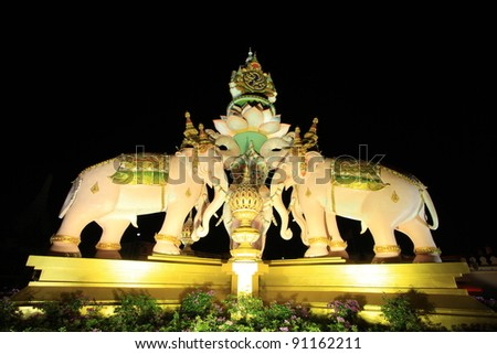BANGKOK THAILAND - DECEMBER 11 : The elephants statue decoration for His Majesty the King, King Bhumibol Adulyadej 84th birthday, on December 11, 2011 in Bangkok, Thailand
