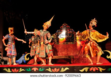 BANGKOK,THAILAND-DECEMBER 24:Unidentified actors perform at the Classical Thai Dance Drama with Orchestra play on The celebrated inscription of Wat Pho,On Dec.24, 2011-Jan.2,2012 in Bangkok, Thailand.