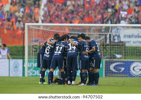 BANGKOK,THAILAND-FEB 4: Buriram PEA team in action during the Toyota league cup final between Buriram PEA and Thai Port FC.at National Stadium on Feb 4, 2012 in Bangkok, Thailand.