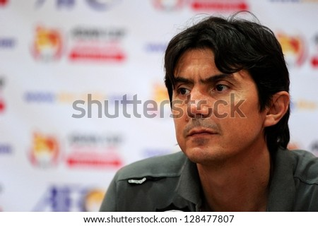 BANGKOK THAILAND-FEB 06:coach Goran Tufegdzic of Kuwait speaks to the media after match during the Asian Cup qualifying between Thailand and Kuwait at Rajamangala stadium on Feb 06, 2013 in,Thailand.
