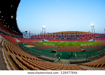 BANGKOK THAILAND-FEB06:Panoramic views Rajamangala stadium during the Asian Cup qualifying between Thailand and Kuwait at Rajamangala stadium on Feb 06,2013 in,Thailand.