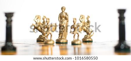 Bangkok, Thailand : Feb 2018. Warior chess board in teamwork business  concept. #1016580550