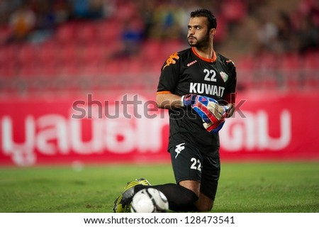 BANGKOK THAILAND-FEBRUARY06:Goalkeeper Nawaf Al-Khaldi of Kuwait in action during the football 2015 Asian Cup qualifying between Thailand and Kuwait at Rajamangala stadium on Feb 06, 2013 in,Thailand.