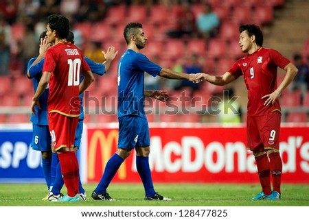 BANGKOK THAILAND-FEBRUARY 06:Goalkeeper Nawaf Al-Khaldi of Kuwait in action during the football 2015 Asian Cup qualifying between Thailand and Kuwait at Rajamangala stadium on Feb 06,2013 in,Thailand.