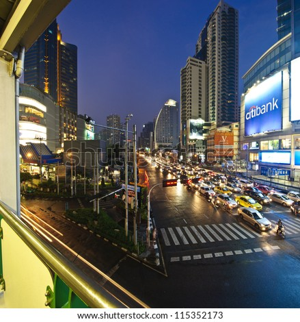 BANGKOK, THAILAND-FEBRUARY 2: The panorama view of traffic congestion on business Asoke junction on February 2, 2009 in Bangkok, Thailand. Bangkok is the top 5 of most traffic congestion of the world.
