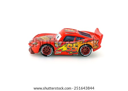 Bangkok Thailand February 08 2015 Tongue Lighting Mcqueen toy car a protagonist of the Disney Pixar feature film Cars A diecast cars collection from mattel inc