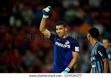 BANGKOK,THAILAND-JA NUARY 8: Goalkeeper Boy Waterman of PSV in action during The AIA Champions Cup match between SCG Muangthong Utd. and PSV at SCG Stadium on Jan8 ,2012 in ,Thailand. - stock photo