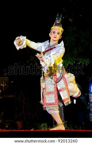 BANGKOK, THAILAND - JAN 2 : Khon - Thai classical mask dance  performance based on Ramayana, the great Indian epic on January 2, 2012 in Wat Phra chetuphon vimolmangklararm , Bangkok Thailand